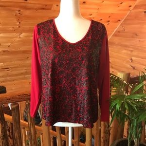 Women Plus Coldwater Creek Red Black Size 1X